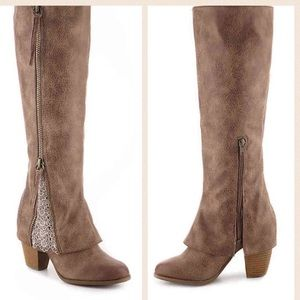 """Not Rated """"Spiffy"""" Heel Taupe & Lace Tall Boot"""